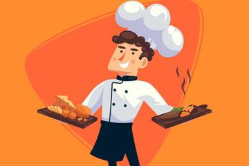 创意双手端菜肴的男厨师矢量图