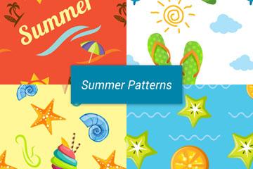4款彩色夏季无缝背景矢量图