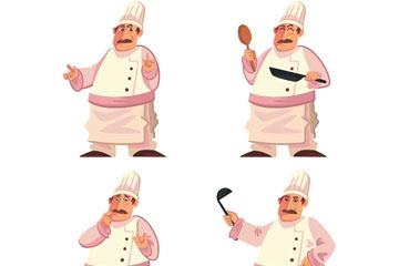 4款创意烹饪中的男厨师矢量素材