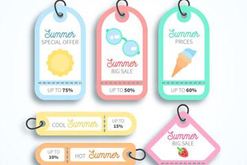 6款可爱夏季促销吊牌矢量素材