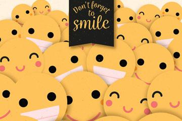 创意质感黄色笑脸背景矢量齐乐娱乐