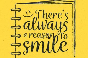 创意写着微笑隽语的记事本矢量图