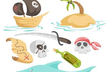 8款创意卡通海盗元素矢量图