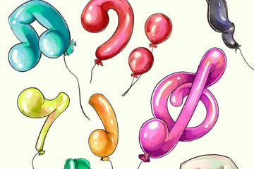 9款彩绘音符气球矢量素材