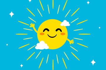 可爱挥手的笑脸太阳矢量素材