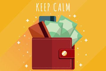 创意装满纸币的钱包矢量素材