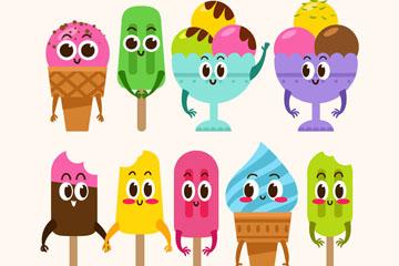 9款可爱表情雪糕设计矢量素材