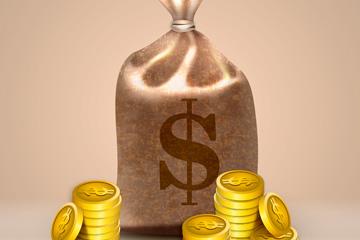精美钱袋和金币矢量素材