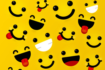 黄色笑脸无缝背景矢量图