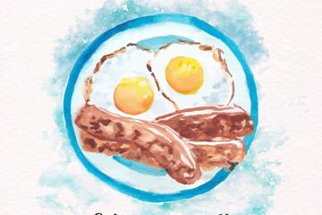水彩绘美味煎蛋和香肠早餐矢量图