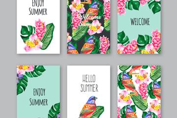 6款彩绘夏季热带花草卡片矢量素