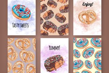 6款美味甜甜圈和面包卡片矢量素材