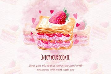 彩绘奶油草莓蛋糕矢量素材