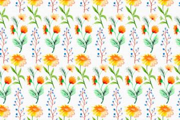 水彩绘橙色花卉无缝背景矢量图