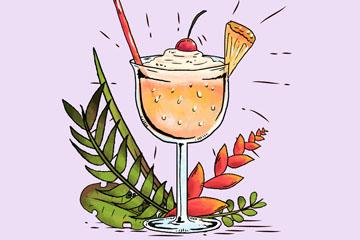 彩绘鸡尾酒和棕榈树叶矢量素材