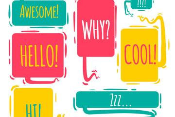 7款彩绘对话款设计矢量素材
