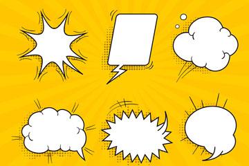 6款手绘空白语言气泡矢量素材