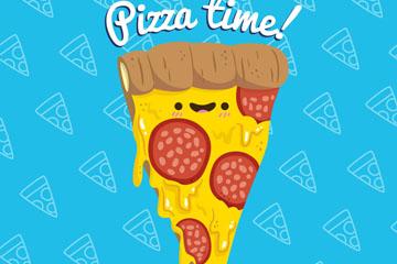 卡通表情三角披萨矢量素材