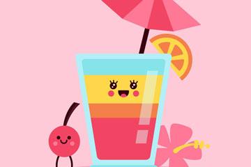 彩色表情夏季杯装饮料矢量素材