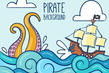 彩绘大海上的海盗船和章鱼怪物矢量图