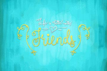 创意友谊隽语艺术字矢量素材