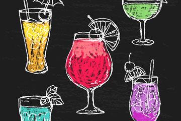 5款彩绘鸡尾酒设计矢量素材