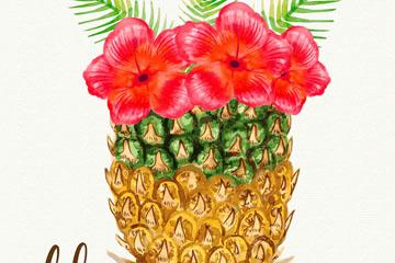 水彩绘插在菠萝里的扶桑花矢量图