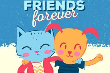 彩绘笑脸猫和狗朋友矢量素材