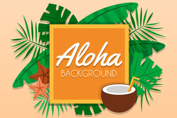 创意夏威夷棕榈树叶和椰汁框架矢量图