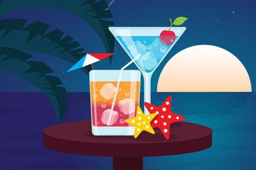 创意沙滩餐桌上的鸡尾酒矢量图