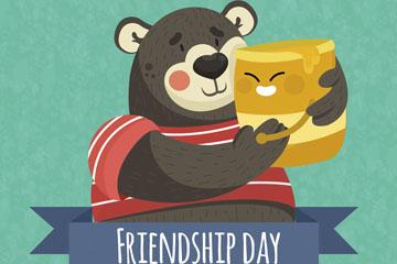 卡通抱着蜂蜜的熊矢量素材
