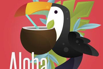 创意夏威夷大嘴鸟和椰汁矢量素材