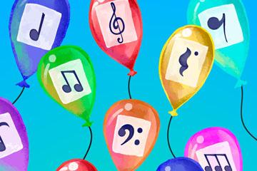 10款彩绘贴音符的气球矢量素材