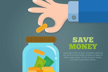 创意向储蓄罐投金币的手臂矢量图