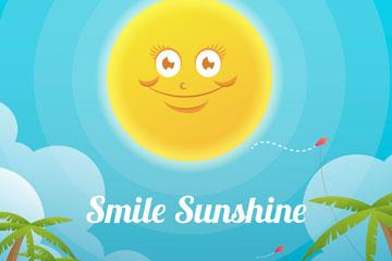 创意微笑太阳和沙滩矢量素材