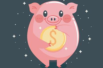 卡通怀抱金币的粉猪矢量素材