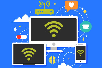 创意无线联网的三个电脑和手机矢量图