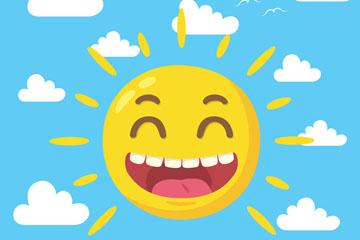 卡通开怀大笑的太阳矢量素材