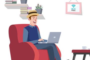创意客厅里无线上网的男子矢量图