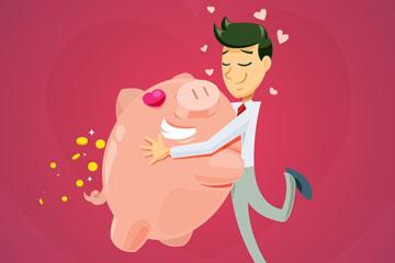创意拥抱小猪储蓄罐的男子矢量素材