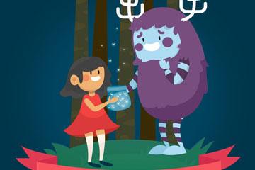 卡通小女孩和怪兽朋友矢量图