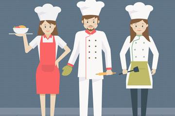 创意3名男女厨师矢量素材