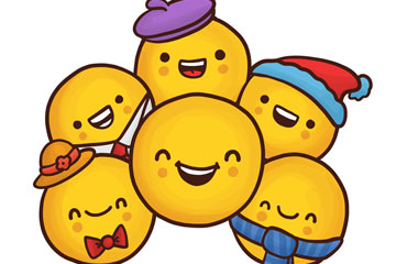 6个卡通圆形笑脸矢量素材
