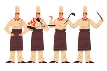 4款时尚男厨师烹饪动作矢量图