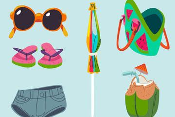 6款时尚夏季度假物品矢量素材