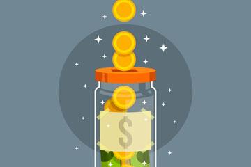 创意透明存钱罐矢量素材
