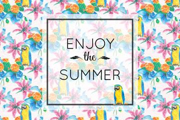夏季热带花卉和金刚鹦鹉无缝背景矢量图