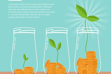 创意逐渐发芽的金币存钱罐矢量图