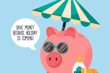 可爱太阳伞下的猪储蓄罐矢量图