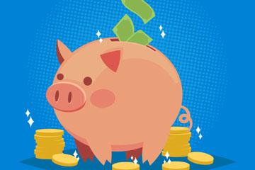 可爱存钱的小猪储蓄罐矢量素材